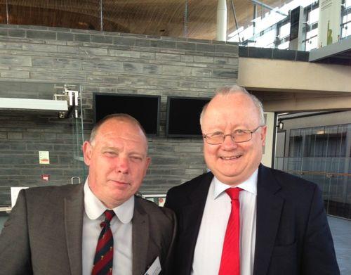 Leighton Andrews AM with Royal British Legion Member Paul Bramwell